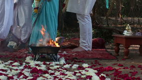 Bride and groom on Indian wedding ceremony Royalty Free Stock Photos