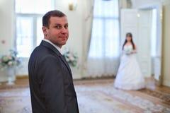 Bride and groom indoor Stock Image
