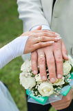 Bride and groom keep ring the bridal bouquet Stock Images