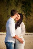 Bride and groom kiss at beach Royalty Free Stock Image