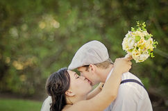 Bride and Groom kiss Stock Photo