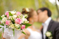 Bride and groom kiss in park Stock Image