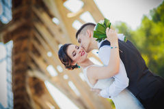 The bride and groom kiss Royalty Free Stock Images