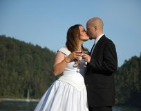 Bride and Groom Kiss During Wine Toast. This young bride and groom share a kiss during a toast with their wine glasses against blue sky Stock Photography