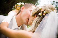 A bride and groom kissing Royalty Free Stock Photos
