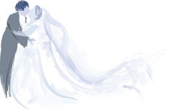 Bride and groom kissing. Vector illustration of a bride and groom kissing with the bride's long veil blowing behind in blue Stock Photos