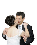 Bride and groom kissing, Royalty Free Stock Photography