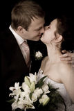 Bride and groom kissing Royalty Free Stock Photo