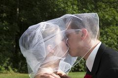 Bride and Groom Kissing. Close-up of bride and groom royalty free stock photos