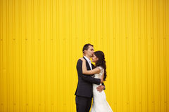 Bride and groom kissing against a yellow wall Royalty Free Stock Photos