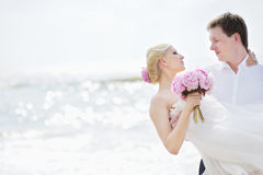 Bride and groom kissing on a beach. Beach wedding: bride and groom by the sea Stock Photography
