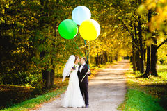 The bride and groom are kissing on the bench with balloons Stock Images