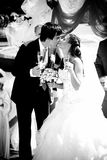 Bride and groom kissing and drinking champagne Stock Photos