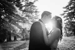 Bride and Groom kissing at sunset royalty free stock image