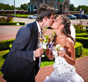 Bride and groom kissing while holding champagne Stock Photos