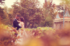 Bride and groom kissing near castle Stock Photography