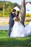 Bride and groom kissing at park against river Stock Image