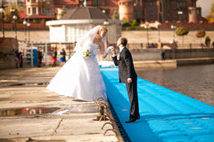 Bride and groom kissing on pier at sunny day Royalty Free Stock Photo