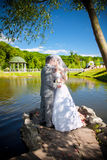 Bride and groom kissing on river bank at park Stock Images