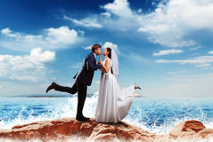Bride and groom kissing on the sea shore Stock Photography