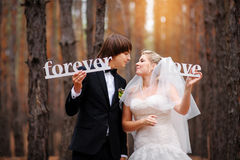 Bride and groom kissing in the woods Stock Photos