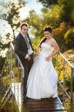 Bride and groom on ladder at wedding walk. Royalty Free Stock Photography