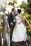 Bride and groom on ladder at wedding walk. Happy bride and groom on ladder at wedding walk. sweet kiss Royalty Free Stock Photos