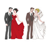 Bride, groom, lady and gentleman in evening dresses. Lady with a Knight, the bride and groom, evening dress and wedding dress, two pairs on a white background Stock Photo