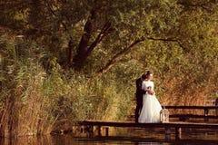 Bride and groom at lake. Beautiful Bride and groom at lake Stock Photography