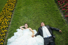 Bride and groom on lawn with flowers Royalty Free Stock Images