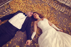 Bride and groom laying on autumn leaves Stock Photos