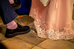 Bride and groom legs on floor royalty free stock photos