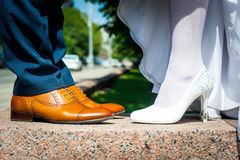 Bride and groom legs Royalty Free Stock Photo