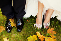 Bride and groom legs Stock Images
