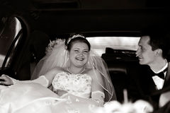 Bride and Groom in a limousine. Bride and Groom having fun in a limousine Stock Images