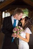 The bride and groom look at each other Royalty Free Stock Image