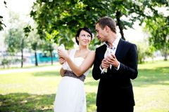Bride and groom looking at each other with love Royalty Free Stock Photo