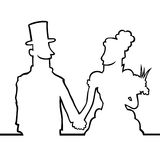 Bride and groom looking at eachother. Black line art illustration of a bride and a groom looking at each other and holding hands Royalty Free Stock Photography