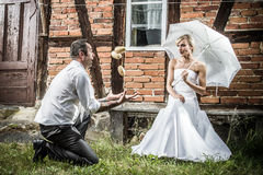 The bride and groom looking at juggling potatoes Royalty Free Stock Images