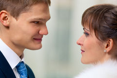 Bride and groom looking to each other Stock Photo