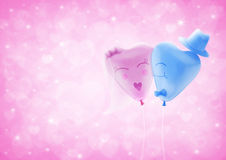 Bride and Groom love heart balloon on blur pink heart bokeh for Stock Photo