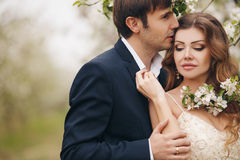 The bride and groom in a lush Park in the spring. Stock Image