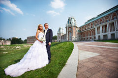 Bride and groom about luxury palace stock photo