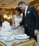 Bride and groom making a wish as they cut the cake Stock Photography