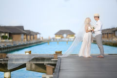 Bride and groom. In the Maldives Royalty Free Stock Photo