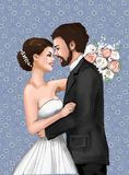 Bride and Groom Marriage Ceremony Marriage greeting card, invitation, love, love story, woman, female, illustration, paiting, dra stock image