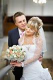 Bride and groom in marriage palace. Happy bride and groom in marriage palace Royalty Free Stock Photo