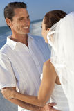 Bride & Groom Married Couple at Beach Wedding Royalty Free Stock Images