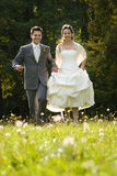 Bride and groom in meadow