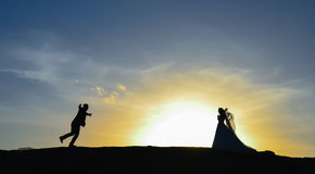 Bride and groom meet and adventure Royalty Free Stock Images